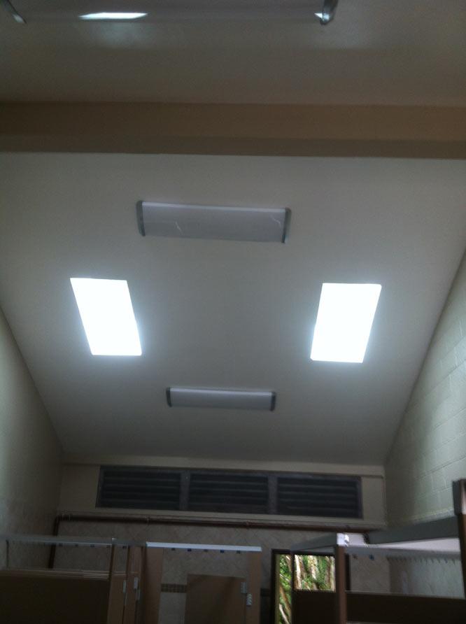 Portfolio of commercial tile work for Commercial bathroom lighting